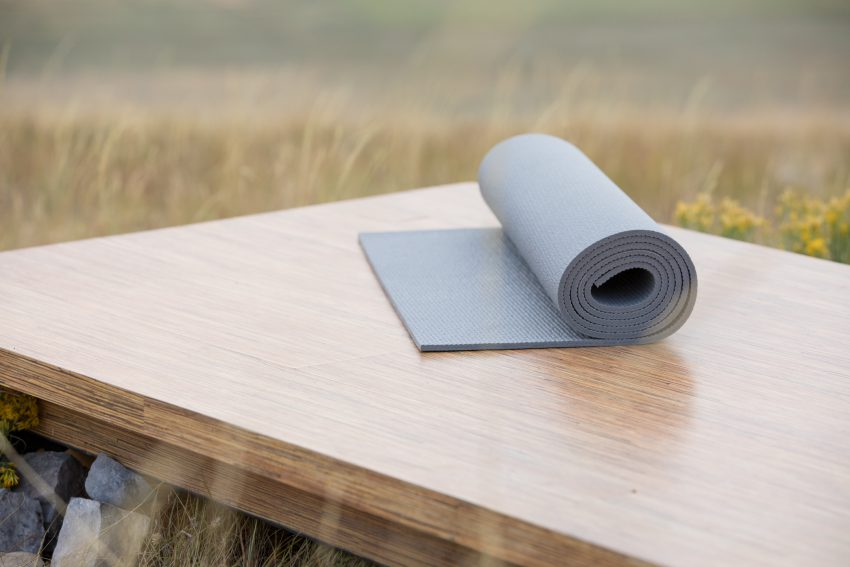 grey yoga mat
